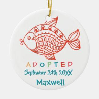 Ornamento De Cerâmica Adotado dos peixes da assistência social - nome