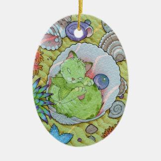 Ornamento De Cerâmica Afirmação de Oracle dos gatos da fantasia - sono