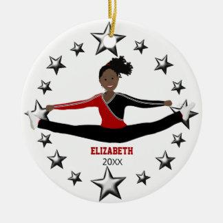 Ornamento De Cerâmica Afro-americano da dança ou do elogio vermelho e