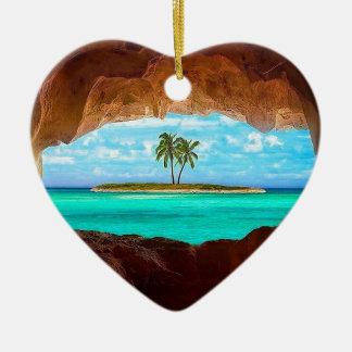Ornamento De Cerâmica Água cénico e palmeiras