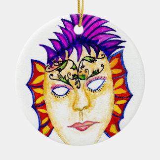 Ornamento De Cerâmica Aguarela 2 da máscara do carnaval
