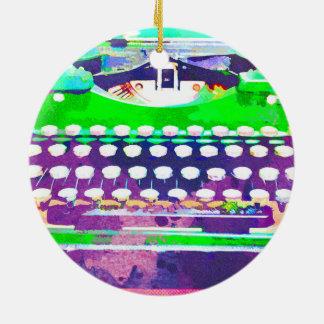 Ornamento De Cerâmica Aguarela abstrata - máquina de escrever do vintage