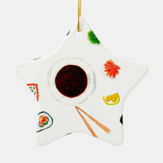 Ornamento De Cerâmica Aguarela ajustada do sushi