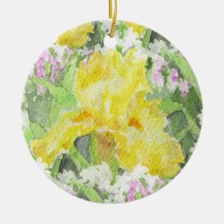 Ornamento De Cerâmica Aguarela alta amarela da íris farpada