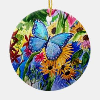 Ornamento De Cerâmica Aguarela azul do jardim da borboleta