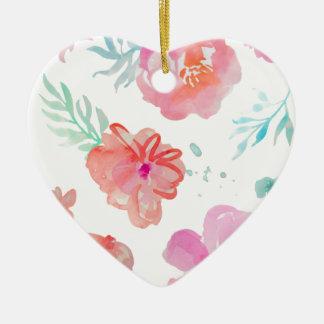 Ornamento De Cerâmica Aguarela cor-de-rosa floral romântica legal &
