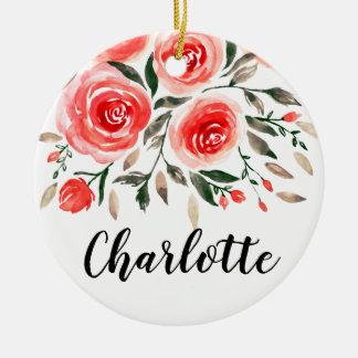 Ornamento De Cerâmica Aguarela cor-de-rosa personalizada dos rosas