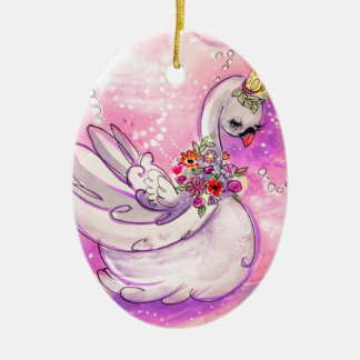Ornamento De Cerâmica Aguarela da cisne do aniversário