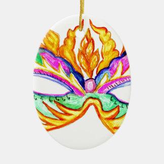Ornamento De Cerâmica Aguarela da máscara do carnaval