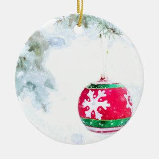 Ornamento De Cerâmica Aguarela da neve do pinho dos feriados do Natal