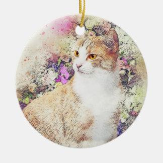 Ornamento De Cerâmica Aguarela do abstrato | do gatinho | do jardim
