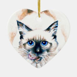 Ornamento De Cerâmica Aguarela do gato Siamese
