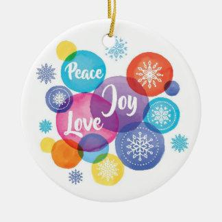 Ornamento De Cerâmica Aguarela do Natal | - citações da alegria do amor