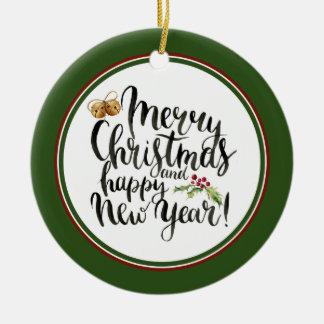 Ornamento De Cerâmica Aguarela do Natal | - citações do feliz ano novo