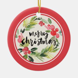 Ornamento De Cerâmica Aguarela do Natal | - grinalda do Feliz Natal