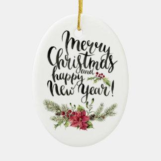 Ornamento De Cerâmica Aguarela do Natal | - poinsétia do feliz ano novo