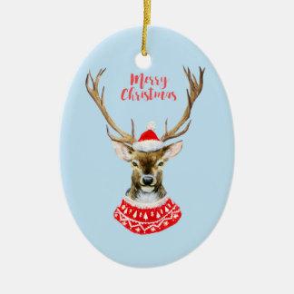 Ornamento De Cerâmica Aguarela do Natal | - rena azul do papai noel