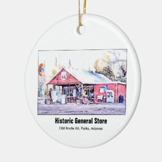 Ornamento De Cerâmica Aguarela histórica da loja geral da arizona da