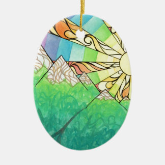 Ornamento De Cerâmica Aguarela & marcador abstratos do ajuste de Sun do
