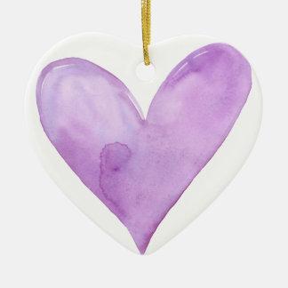 Ornamento De Cerâmica Aguarela Purple Heart, coração dos namorados