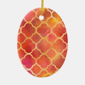 Ornamento De Cerâmica Aguarela Quatrefoil