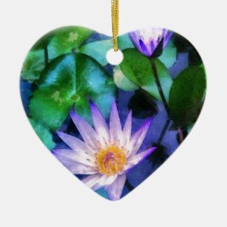 Ornamento De Cerâmica Aguarela roxa de Lotus