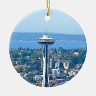 Ornamento De Cerâmica Agulha do espaço da skyline de Seattle
