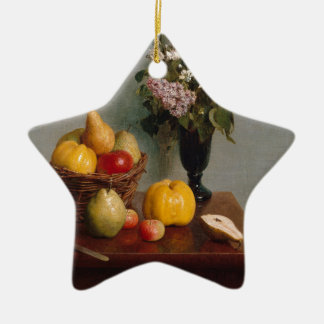 Ornamento De Cerâmica Ainda vida com flores e fruta