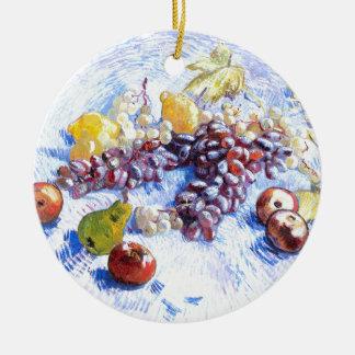 Ornamento De Cerâmica Ainda vida com maçãs, peras, uvas - Van Gogh