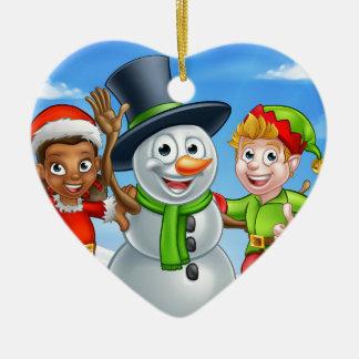 Ornamento De Cerâmica Ajudantes de Santa do boneco de neve e do duende