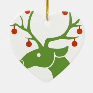 Ornamento De Cerâmica Alegria dos feriados do Natal da rena