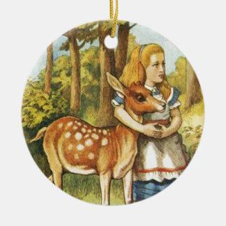Ornamento De Cerâmica Alice e a jovem corça
