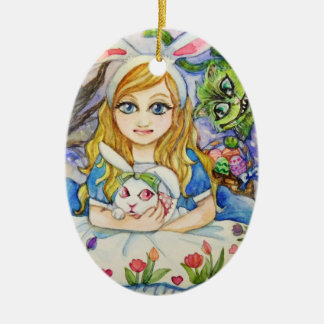 Ornamento De Cerâmica Alice e coelho