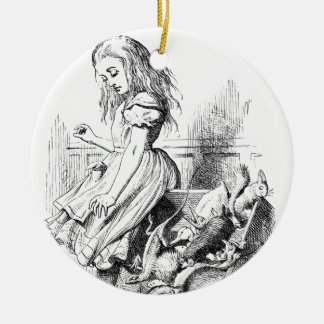 Ornamento De Cerâmica Alice e uma caixa dos animais