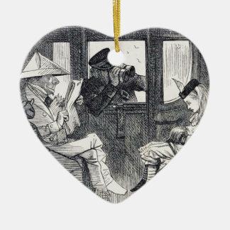 Ornamento De Cerâmica Alice no trem