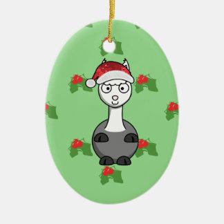 Ornamento De Cerâmica alpaca do papai noel do Natal