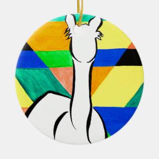 Ornamento De Cerâmica Alpaca Funky