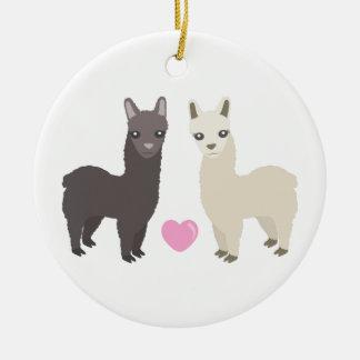 Ornamento De Cerâmica Alpacas e coração