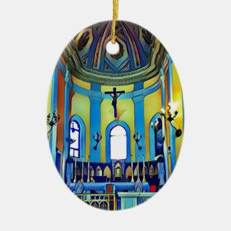 Ornamento De Cerâmica Altar vibrante azul amarelo bonito da igreja