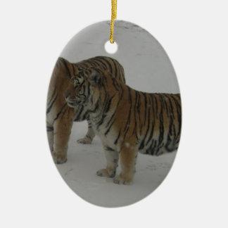 Ornamento De Cerâmica Alugueres dois tigres Siberian