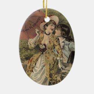 Ornamento De Cerâmica Amantes sob o guarda-chuva
