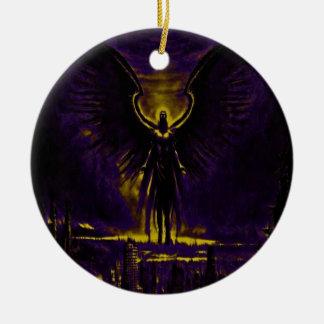 Ornamento De Cerâmica Amarelo angélico e roxo do guardião