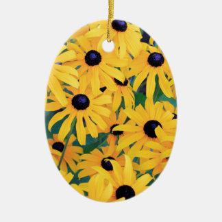 Ornamento De Cerâmica Amarelo das flores de Susan de olhos pretos dentro