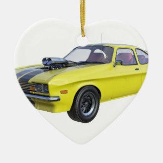 Ornamento De Cerâmica Amarelo do carro de 1970 músculos com listra preta
