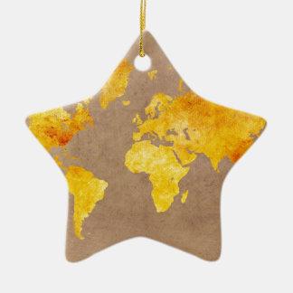 Ornamento De Cerâmica amarelo do mapa do mundo
