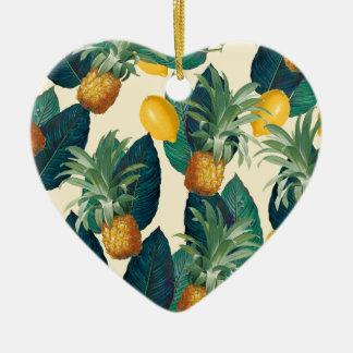 Ornamento De Cerâmica amarelo dos limões do abacaxi