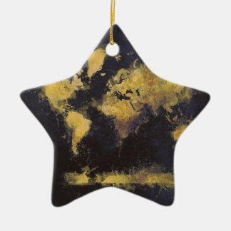 Ornamento De Cerâmica amarelo preto do mapa do mundo