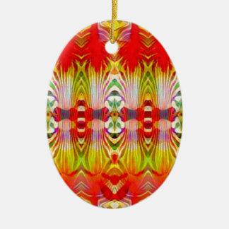 Ornamento De Cerâmica Amarelo vermelho psicadélico
