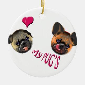 Ornamento De Cerâmica ame meus pugs