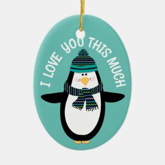 Ornamento De Cerâmica Ame-o presente do Natal do pinguim do divertimento